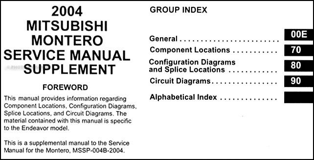 Vk 0297 Repair Manual Mitsubishi Pajero Montero Workshop