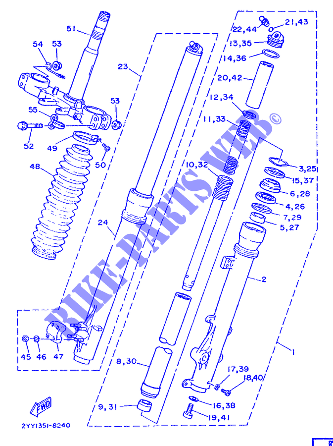 Groovy Front Fork Dt200R Dt200R Dtr 1989 200 Moto Yamaha Motorcycle Wiring Cloud Licukaidewilluminateatxorg