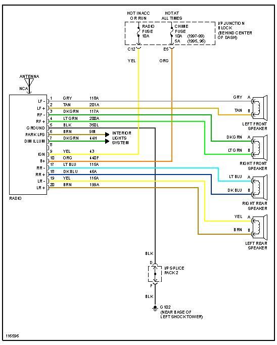 factory stereo wiring diagram 1999 saturn  description