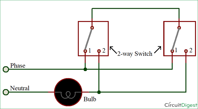 Terrific How To Connect A 2 Way Switch With Circuit Diagram Wiring Cloud Onicaxeromohammedshrineorg
