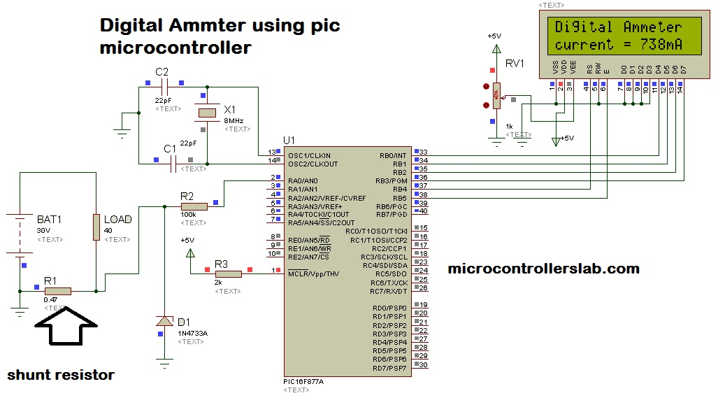 Brilliant Digital Ammeter Circuit And Project Using Pic Microcontroller Wiring Cloud Timewinrebemohammedshrineorg