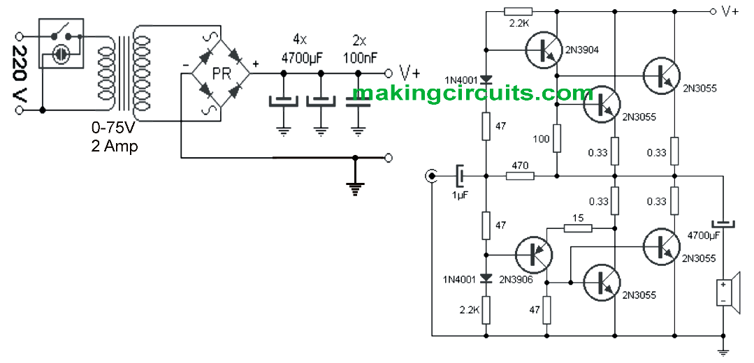 Sensational Simple 100 Watt Amplifier Circuit Using 2N3055 Transistors Wiring Cloud Rometaidewilluminateatxorg