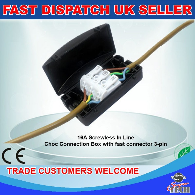 Pack Of 100 Connection Block Choc Box Inline Junction Box Cable Connector