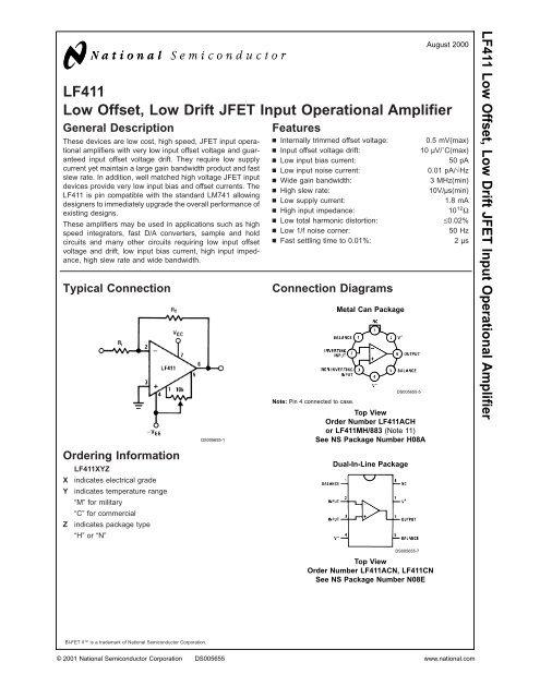 Low Drift JFET Input Operational Amplifier US 5PCS LF411CN DIP8 Low Offset