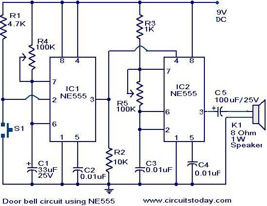 Admirable Door Bell Circuit Using Ne555 Electronic Circuits And Diagram Wiring Cloud Cranvenetmohammedshrineorg