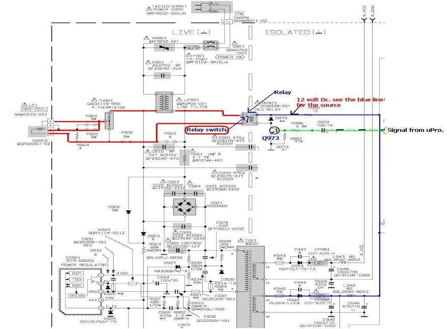 tv circuit board diagram repair xl 1848  repair made easy relay found in switch mode power supply  repair made easy relay found in switch