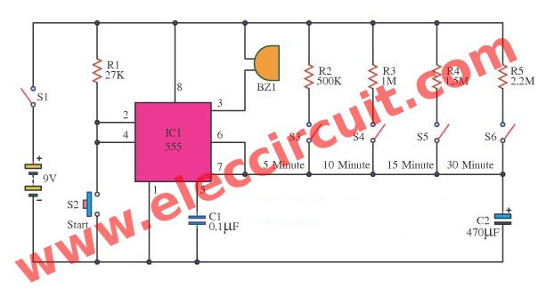 Super 5 30 Minuts Timer Circuit Using Ic 555 Wiring Cloud Eachirenstrafr09Org