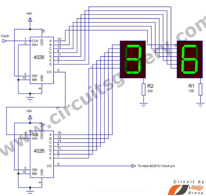 [VF_3804] Digital 7 Segment Pulse Counter Schematic Wiring