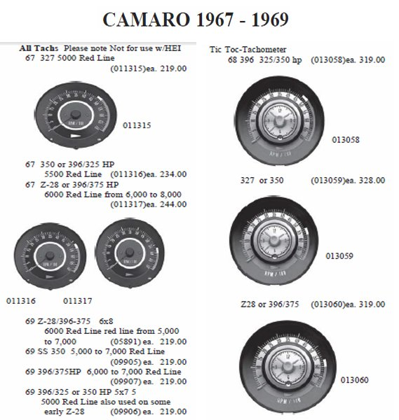 1969 Camaro Tachometer Wiring Diagram