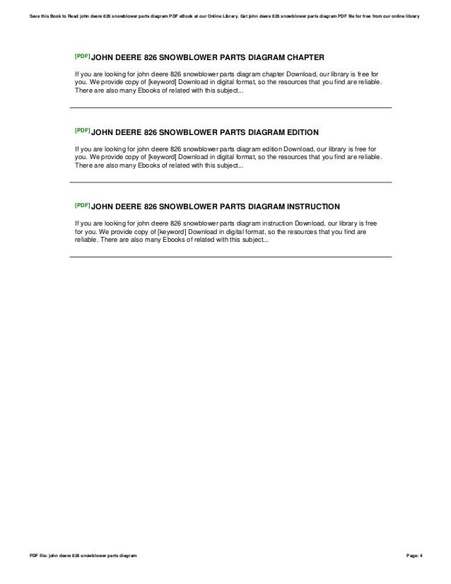 Prime John Deere 826 Snowblower Parts Diagram Wiring Cloud Domeilariaidewilluminateatxorg