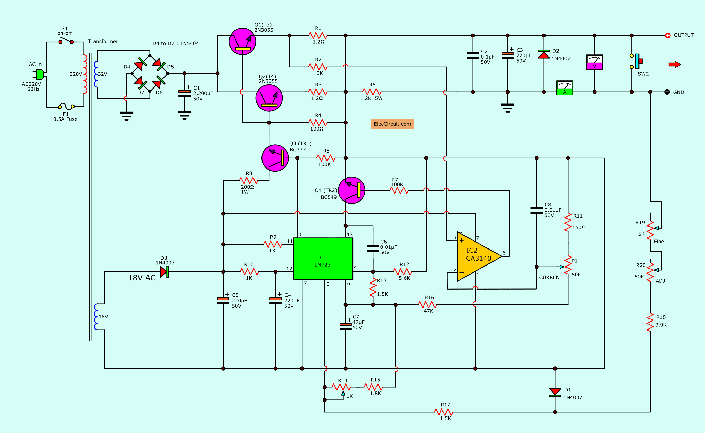 power supply wiring diagram tw 5824  lm723 variable power supply circuit design electronic power supply wiring diagram pc lm723 variable power supply circuit