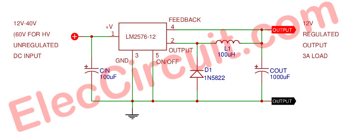 Pleasant 12V 3A Switching Regulator Circuit Using Lm2576 12 Eleccircuit Com Wiring Cloud Itislusmarecoveryedborg