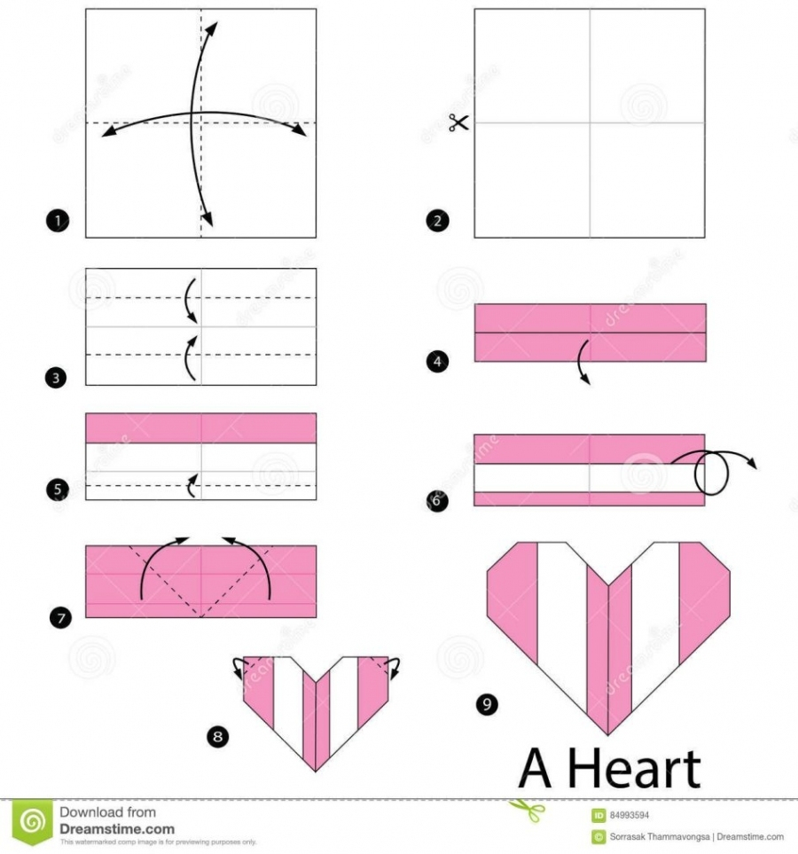 Step instructions how to make origami a heart box Vector Image | 963x900