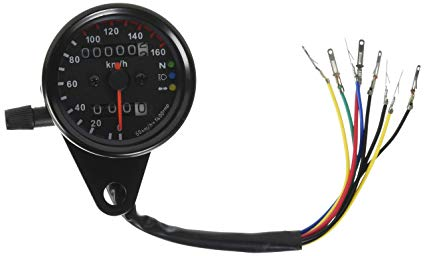 Ambuker 12V Motorcycle 13000 RPM Tachometer Km//h Speedometer Dual Odometer Gauge with LED Backlight Signal Lights