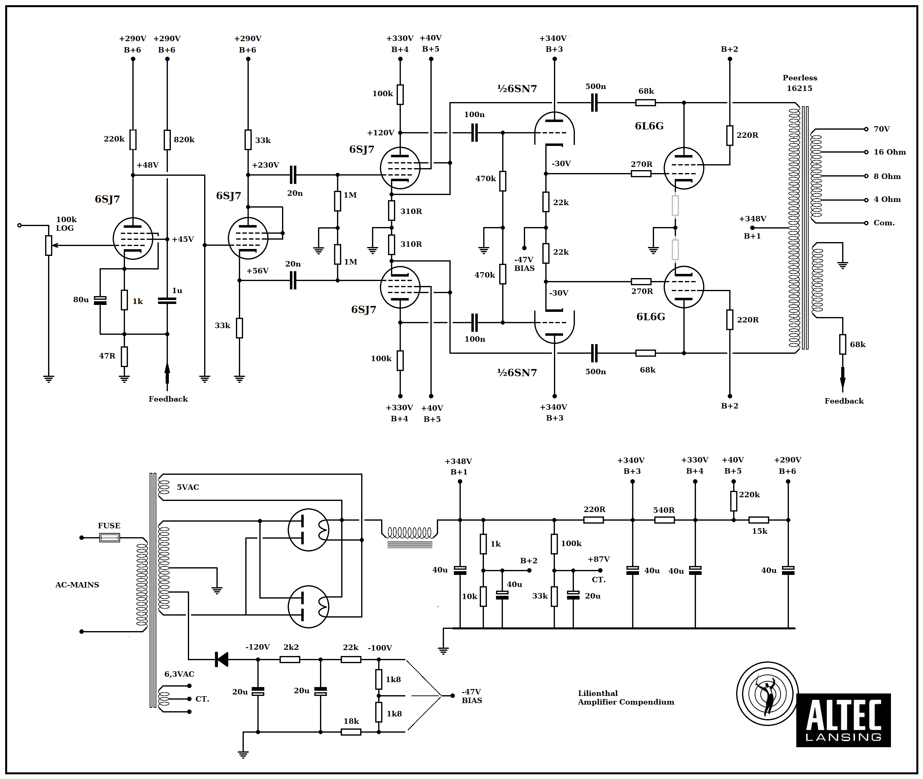 vt 2891  together with 6l6 tube lifier schematic on 6l6