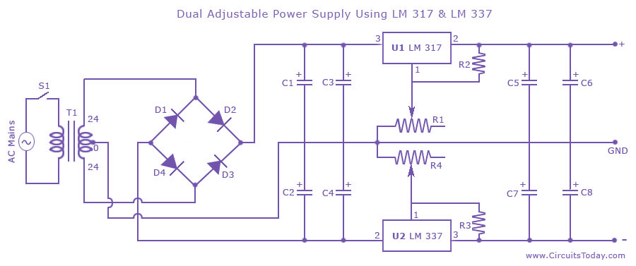 Swell Dual Variable Power Supply With Lm337 And Lm317 Electrical Wiring Cloud Eachirenstrafr09Org