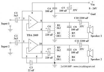 Awesome 2X10W Audio Amplifier With Tda2009A Circuit Diagram Technical Wiring Cloud Icalpermsplehendilmohammedshrineorg