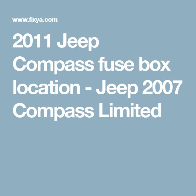 2017 Jeep Compass Interior Fuse Box Location