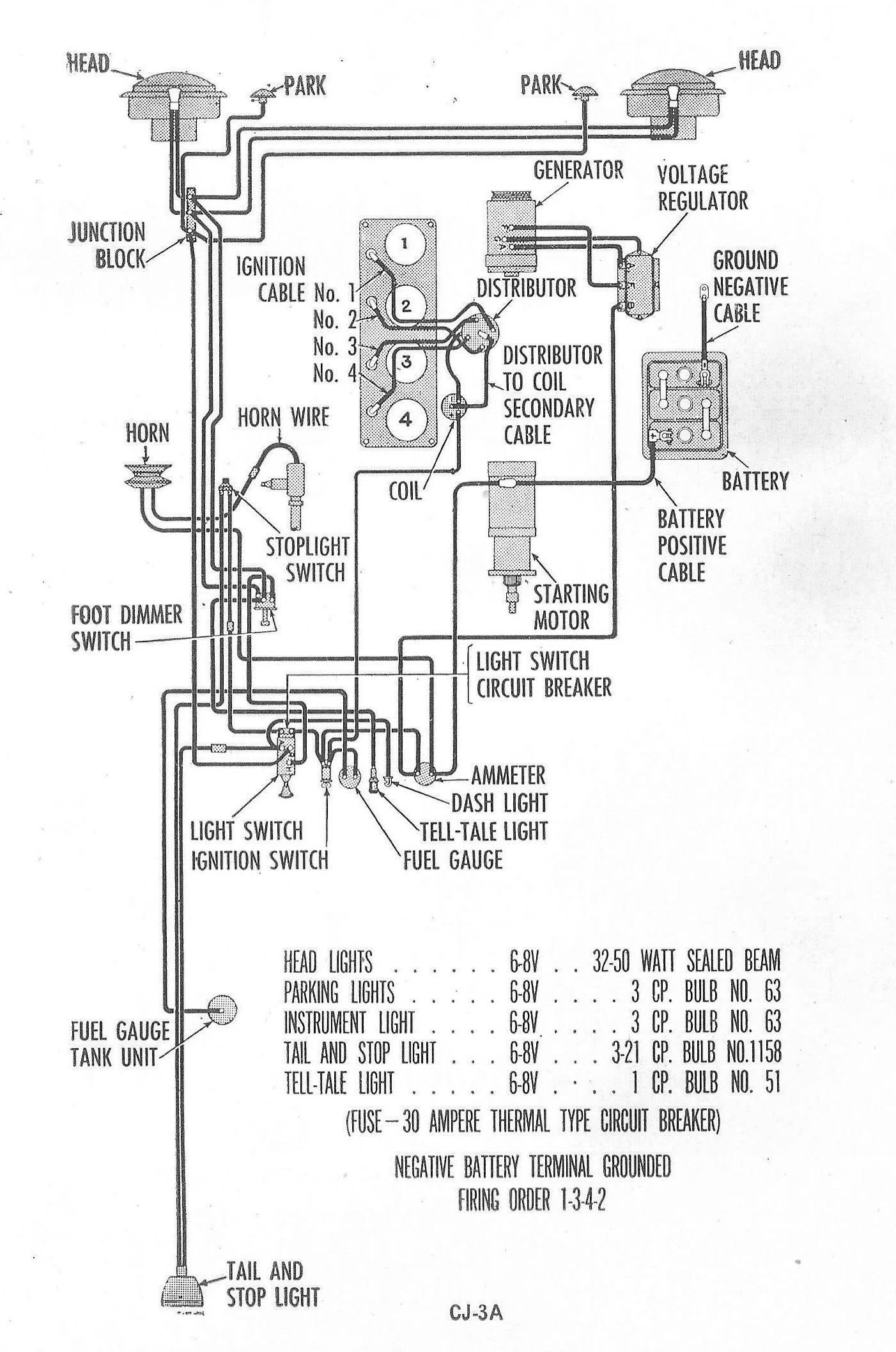 1953 cj3a wiring diagram schematic vc 0327  wiring diagram jeep cj3b schematic wiring  wiring diagram jeep cj3b schematic wiring