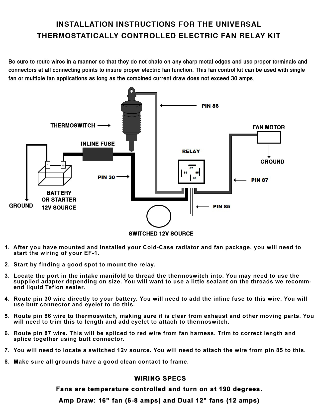 Peachy Electric Fan Relay Wiring Kit Cold Case Radiators Cold Case Radiators Wiring Cloud Grayisramohammedshrineorg