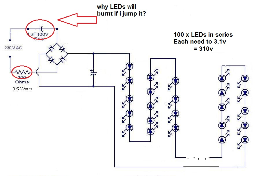 Wondrous Led Why Transformerless Power Supply Need A Capacitor To Decrease Wiring Cloud Overrenstrafr09Org