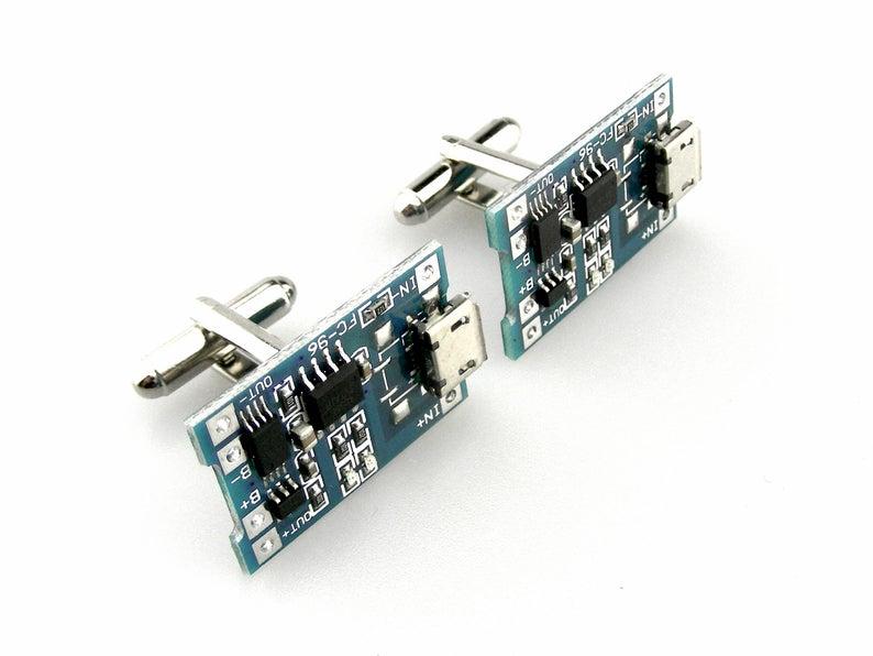 Green motherboard cufflinks geek computer circuit cyberpunk tech upcycled recycled technology