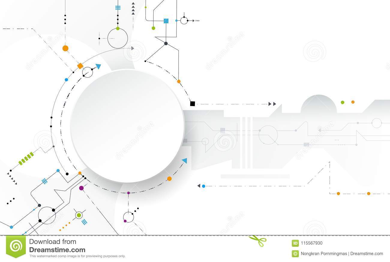 Remarkable Futuristic Circuit Board With Blank White 3D Paper Circle Stock Wiring Cloud Orsalboapumohammedshrineorg