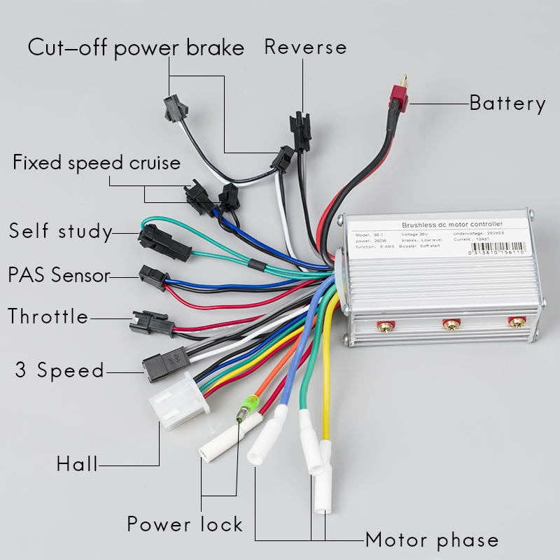 Stupendous Electric Scooter 250W 350W 24V 36V 48V Dc Brushless Speed Controller Wiring Cloud Hemtshollocom