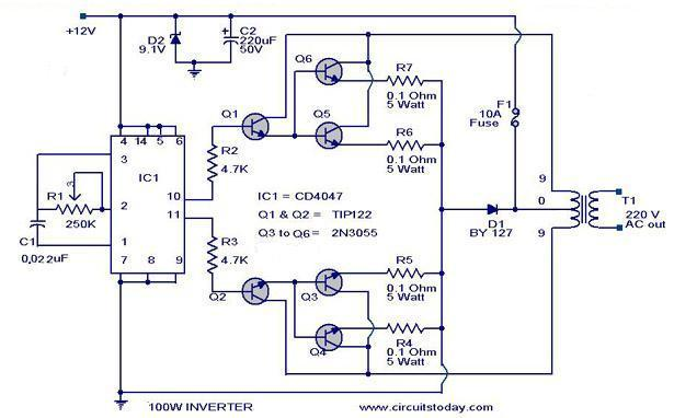 Astonishing 100 Watt Inverter Circuit Diagram Parts List Design Tips Wiring Cloud Dulfrecoveryedborg