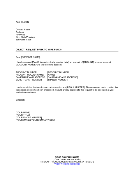 Prime Request Bank To Wire Funds Template Word Pdf By Business In A Box Wiring Cloud Dulfrecoveryedborg