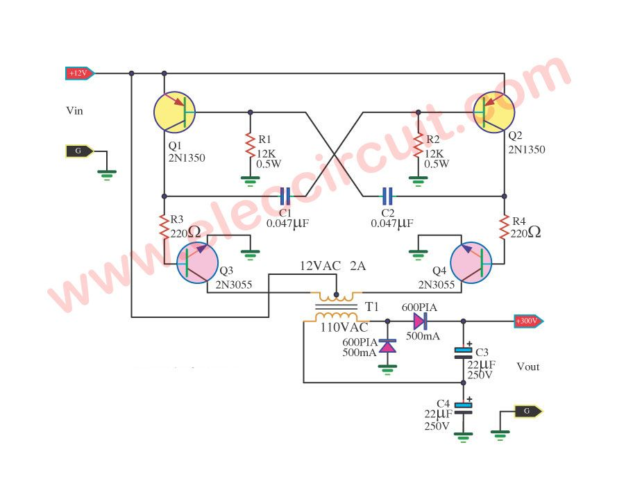 Superb 12V To 300V Dc Dc Converter Circuit Eleccircuit Com Dc Wiring Cloud Waroletkolfr09Org