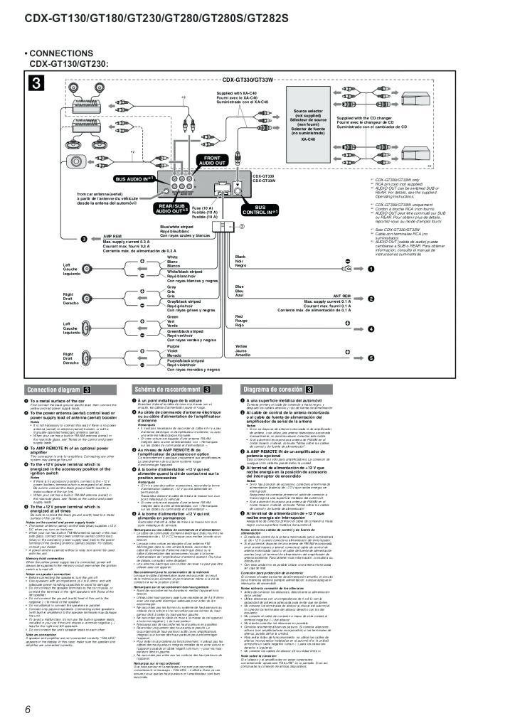 sony cdx gt130 wiring diagram manual model mo  icm 251