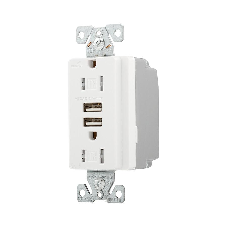 Admirable Eaton Cooper Wiring Devices White 15 Amp Duplex Tamper Resistant Wiring Cloud Gufailluminateatxorg