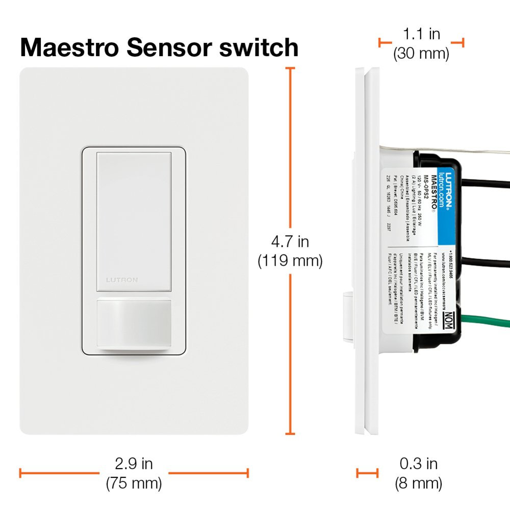 Enjoyable Lutron Maestro Sensor Switch 2A No Neutral Required Single Pole Wiring Cloud Onicaxeromohammedshrineorg
