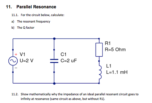 Tremendous Solved 11 Parallel Resonance 11 1 For The Circuit Below Wiring Cloud Hemtegremohammedshrineorg