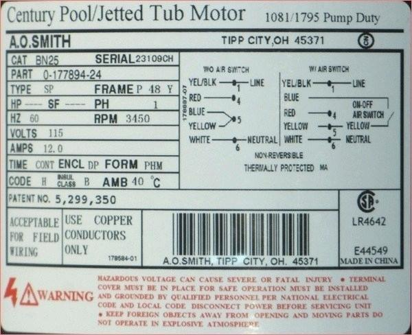 Jaccuzi Pump Motor Wiring Diagram