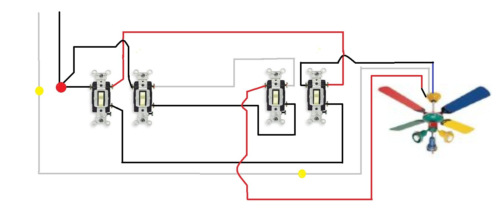 Stupendous Wiring Diagram 3 Way Switch Ceiling Fan And Light How To Wire A With Wiring Cloud Inklaidewilluminateatxorg
