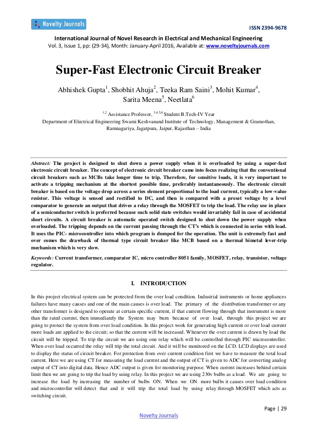 Stupendous Super Fast Electronic Circuit Breaker Wiring Cloud Genionhyedimohammedshrineorg