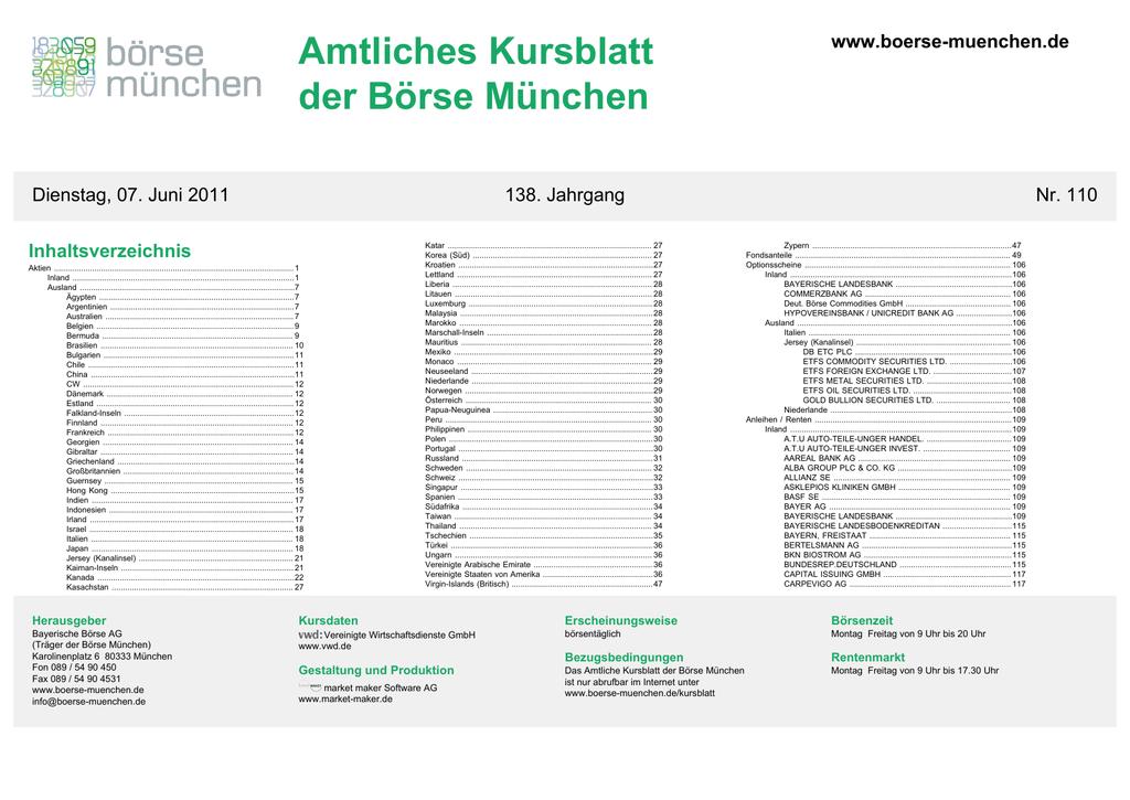 Outstanding Amtliches Kursblatt Der Borse Munchen Manualzz Com Wiring Cloud Filiciilluminateatxorg