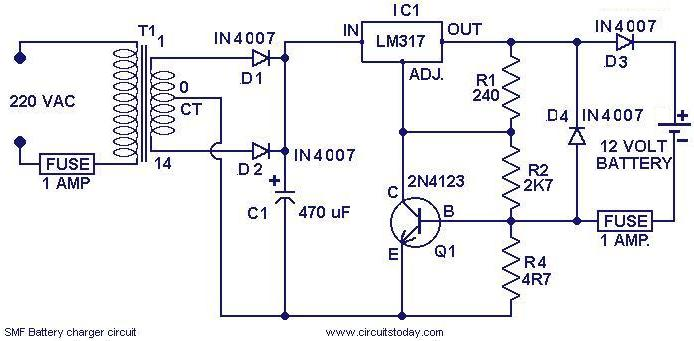 Terrific Chager Circuit For Smf Batteries Electronic Circuits And Diagrams Wiring Cloud Picalendutblikvittorg
