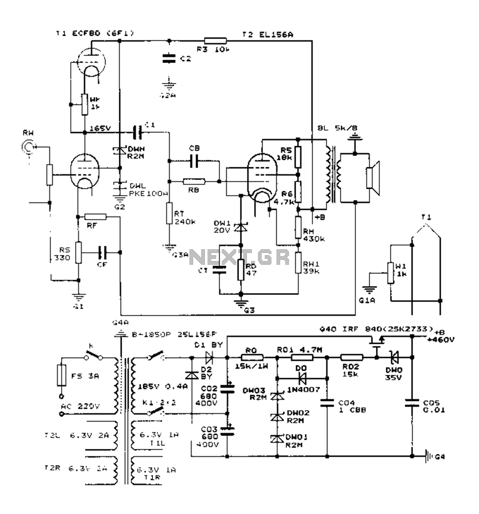 RT_2661] Class A Vacuum Tube Valve Amplifier Circuit Electronic Circuits Schematic  Wiring | Tube Amp Wiring Diagram |  | Nuvit Tobiq Mohammedshrine Librar Wiring 101