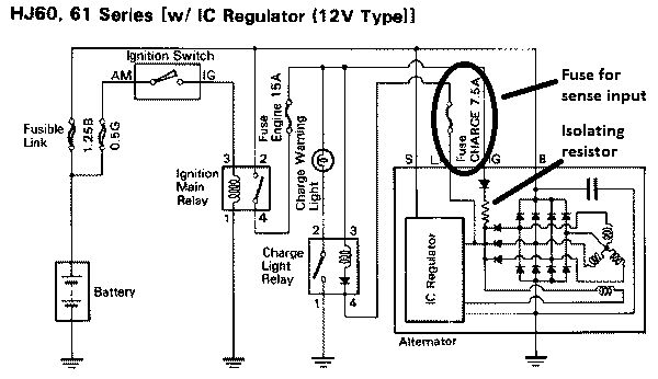 toyota landcruiser alternator wiring diagram  delco 7si