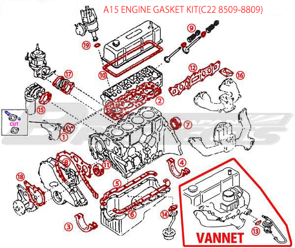 Awe Inspiring A15 Engine Repair Gasket Kit Specialized Shop For Datsun 1200 Wiring Cloud Waroletkolfr09Org