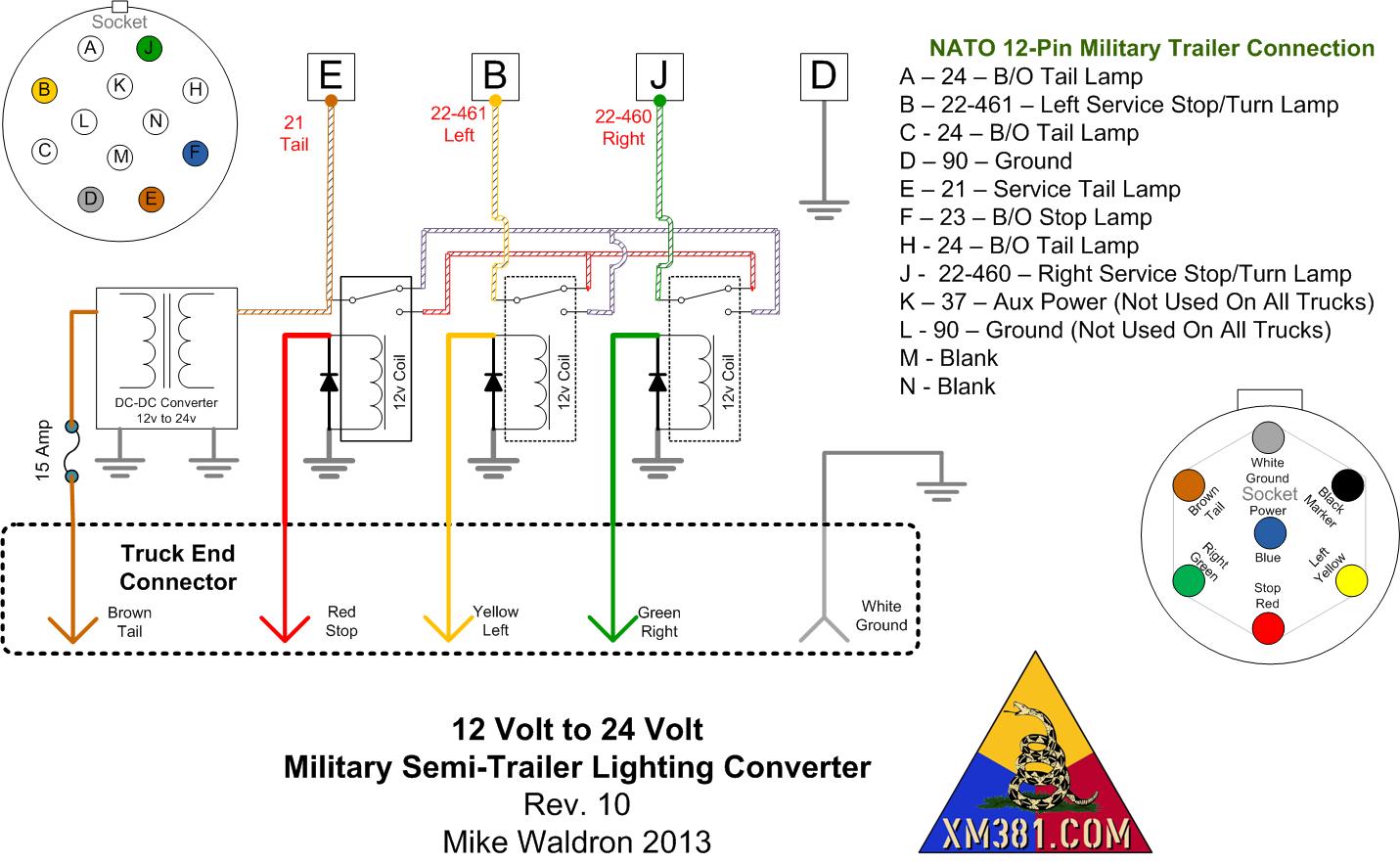 Fabulous Xm381 12 Volt Civllian Truck To 24 Volt Military Trailer Lighting Wiring Cloud Hemtegremohammedshrineorg
