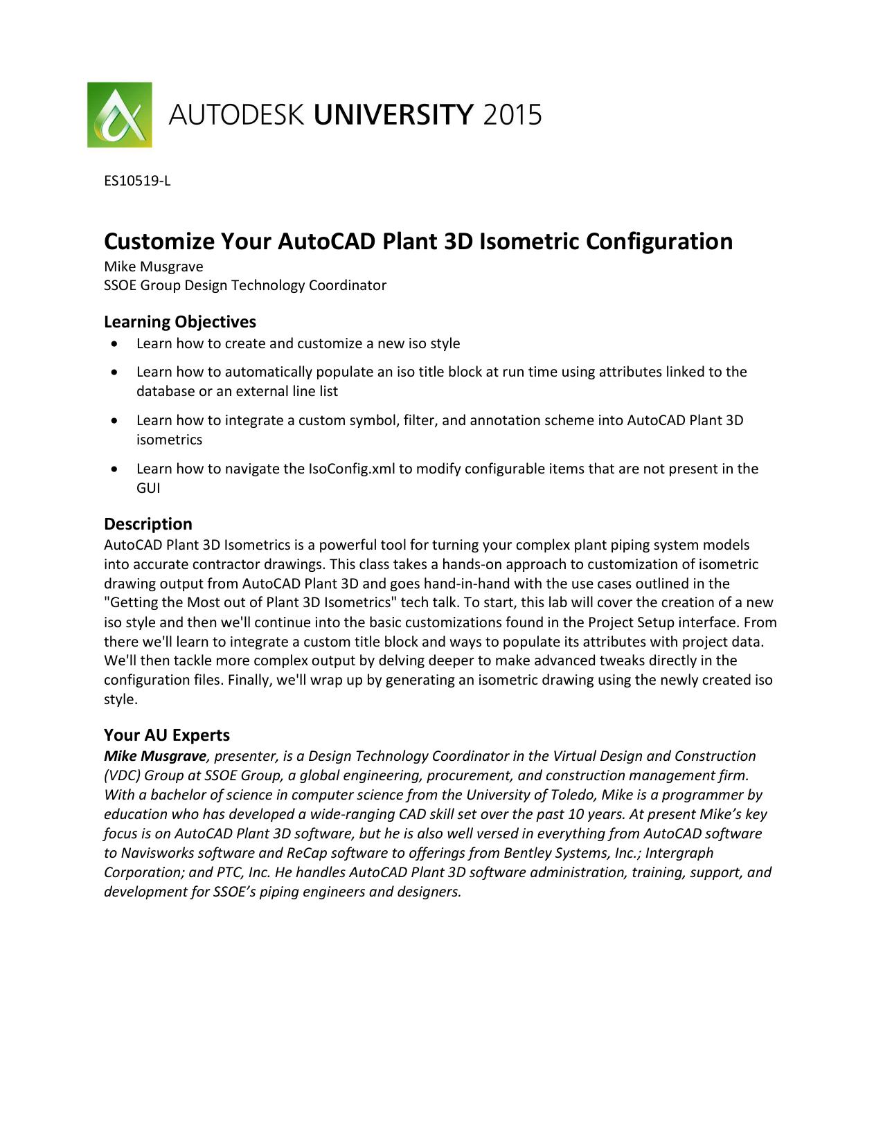 Wondrous Customize Your Autocad Plant 3D Isometric Configuration Manualzz Com Wiring Cloud Onicaxeromohammedshrineorg