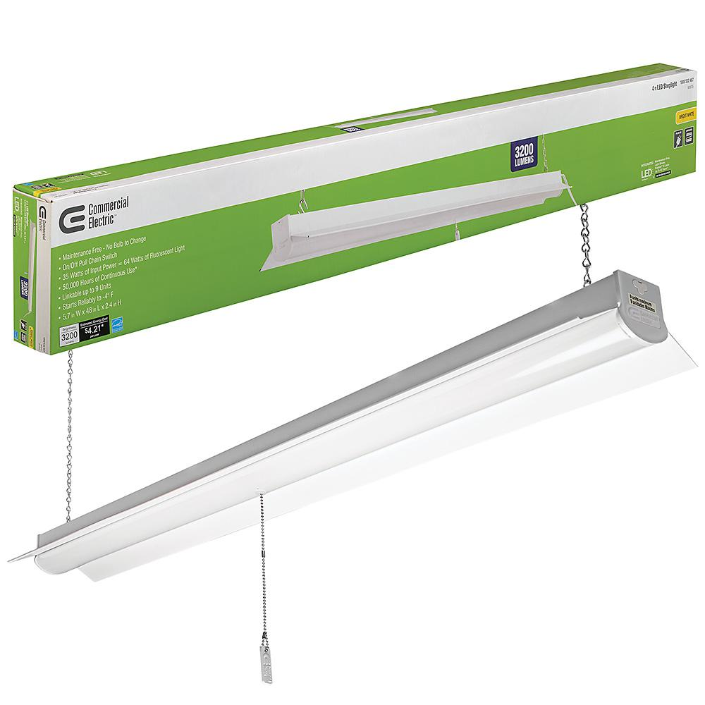 Incredible Commercial Electric 4 Ft Bright And Cool White Integrated Led Wiring Cloud Ostrrenstrafr09Org