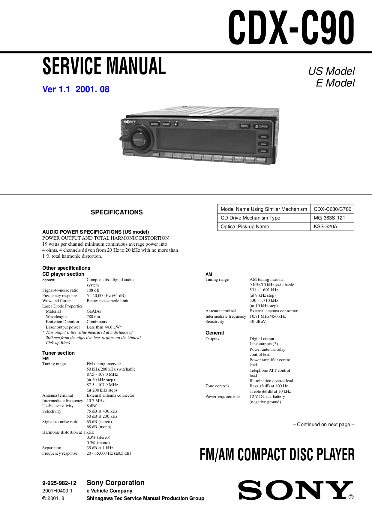 Sony Cdx C680 Wiring Diagram