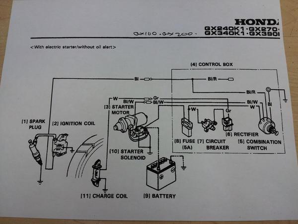 Honda Gx270 Electric Start Wiring Diagram