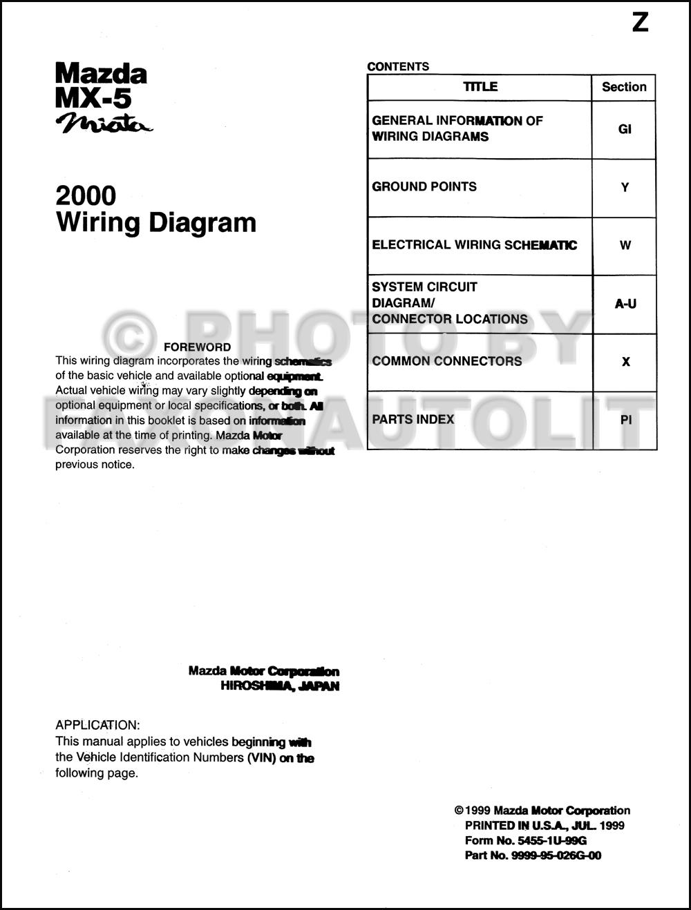 1993 Mazda Mx 3 Wiring Diagram Manual Original