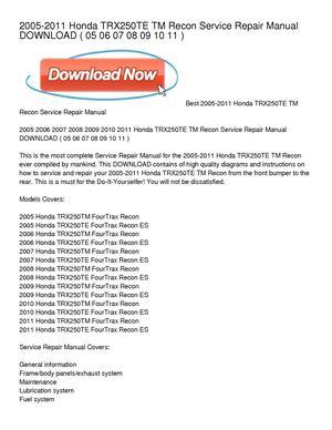 Tremendous Calameo 2005 2011 Honda Trx250Te Tm Recon Service Repair Manual Wiring Cloud Licukshollocom